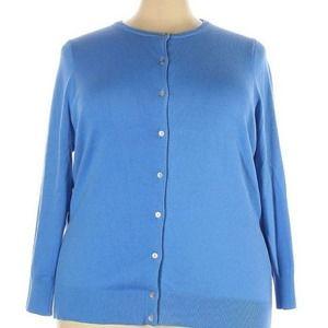 Lands End Soft Comfy Plus Size Blue Cardigan 3X